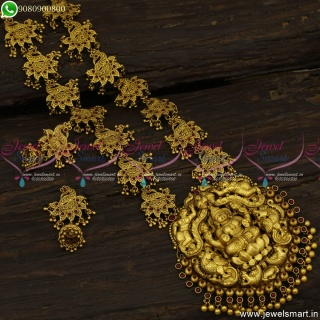 Awe-Inspiring Nagas Temple Jewellery Long Necklace Antique Gold Collections NL23624