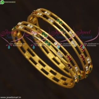 Baby Girl Gold Plated Stone Bangles 3 Line Simple Design Daily Wear B21651