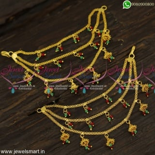 Bahubali Ear Chain For Wedding Latest Gold Covering Jewellery With Pearls EC23985