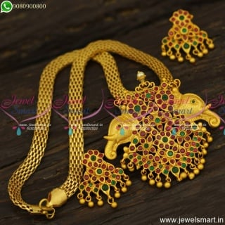 Bahubali Movie Style Dollar Chain Designs For Ladies Matte Look Ruby Emerald