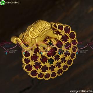 Bahubali Style Elephant Model Finger Rings Adjustable Kemp Hand FixedF23814
