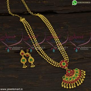 Beads Mala Layered Necklace Kemp Stones Fashion Attigai South Indian Jewellery