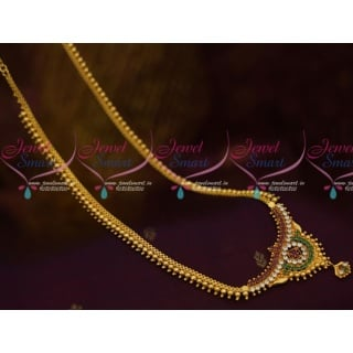 Beads Model Long Chain Necklace Designs In Gold Plated JewelleryNL11741A