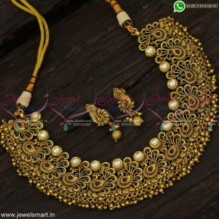 Peacock Choker Necklace Set Small Earrings 1 Gram Gold Antique Jewellery Online Shopping NL23095