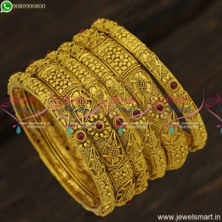 Beautiful Antique Gold Bangles Design 6 Pieces Set Fashion Jewellery TrendsB23832