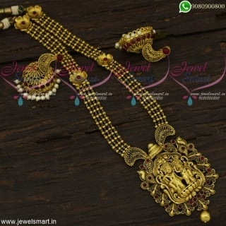 Beautiful Antique Long Gold Necklace Artificial Jewellery Lord Radhakrishna Designs NL22144