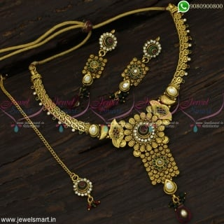 Beautiful Antique Necklace Set At Wholesale Prices Online With Maang Tikka NL22872