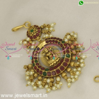 Beautiful Broad Maang Tikka Preferred Bridal Temple Jewellery With Pearls Online