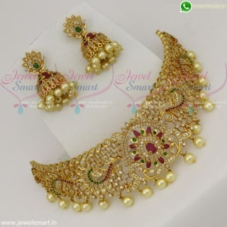 Beautiful Choker Necklace Gold Plated With Screwback Jhumka Earrings Online NL22534