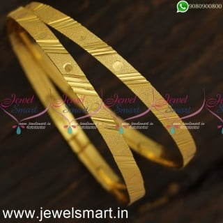 Beautiful Dots and Stripes Brushed Gold Kangan Design New Arrivals Shop OnlineB24017