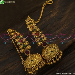 Beautiful Floral Jhumka Earrings With Mattal Ear Chain Antique Jewellery Designs