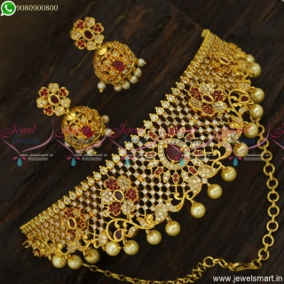 Beautiful Gold Plated Choker Necklace Designs With Jhumka Earrings Online NL23722
