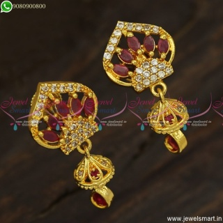 Beautiful Gold Plated Earrings with Small or Mini Jhumka Drops For Daily Wear ER23579