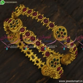 Beautiful Handcrafted Latest Gold Bangles Design Traditional Kal Valayal OnlineB23834