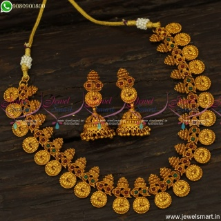 Beautiful Kalasam Design Temple Jewellery Set Latest Coin Necklace Online NL23774