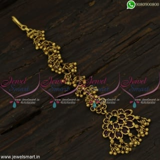 Beautiful Kemp Maang Tikka Bead Danglers Latest Gold Design Jewellery OnlineT22286