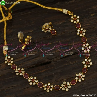 Beautiful Kids Necklace Set With Soft Clip Lock Ear Studs Simple Gold Design Antique