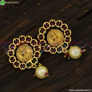 Beautiful Kemp Laxmi Coin Ear Studs With Pearls Kasu Kammal Online ER23795