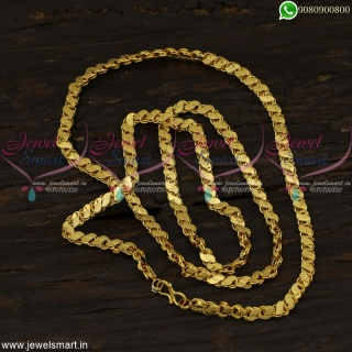 Beautiful Long Chain Designs In Gold Covering South Indian Fancy Models