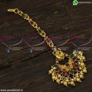 Beautiful Temple Jewellery Kemp Maang Tikka For Bride Golden and Pearl Drops