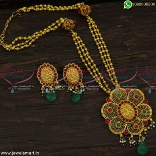 Beautiful Kharbuja Beads One Gram Gold Temple Jewellery Traditional Necklace Set Online NL23050