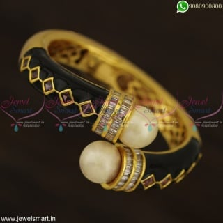Beautiful Meenakari Pull Open Kada Bracelets Hollow Gold Design Jewellery B22953