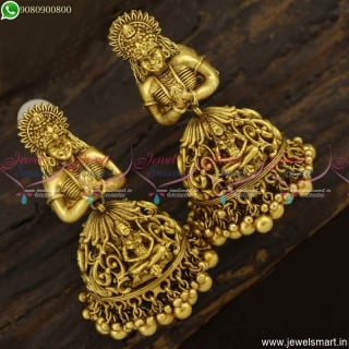 Beautifully Designed Lord Shiv Parvathy Jhumka Earrings Bridal Temple Jewellery J23394