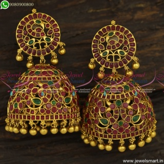 Big Heavy Bridal Designer Jhumka Earrings Gold Designs Ruby Emerald Stones Jewellery J23827