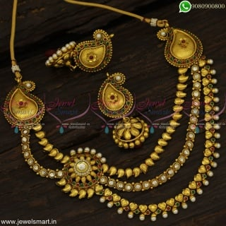 Big Jhumka Earrings With Layered Necklace Design Antique Mango Jewellery Online NL22945