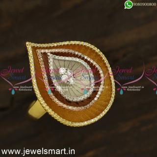 Big Pear Shape Adjustable Diamond Finger Rings Models 3 Layers OnlineF24438