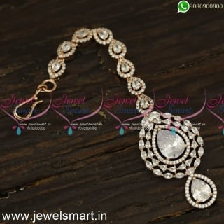 Big Shining White Stone Papidi Billa for Brides Jewellery In Rose Gold Maang Tikka T24145