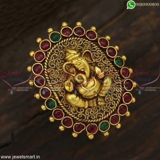 Big Size Lord Ganesha Finger Rings Temple Antique Jewellery Designs Colour Options F22988