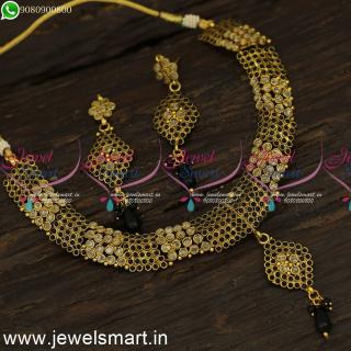 Black and Dull Yellow Polki Stones Antique Fashion Jewellery Set Low PriceNL24085