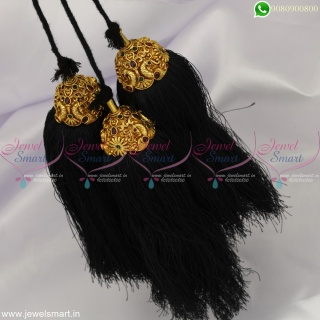 Black Silk Thread Jada Kuppulu Artificial Dance Jewellery Accessories for Hair
