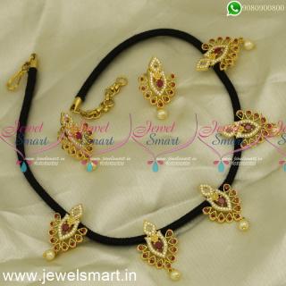 NL24419 Black Thread Necklace Set CZ Stone Pendants Gold Design Collections Buy Online