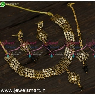 Black and White Colour Copper Antique Fashion Jewellery Set Maang Tikka NL24088
