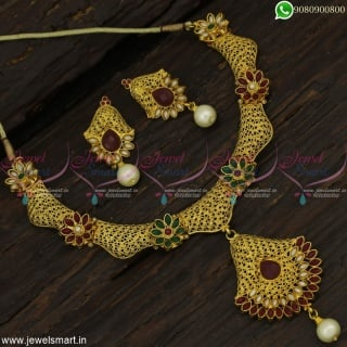 Brass Metal Delicate Antique Fashion Jewellery Set Red Green Light Gold Designs NL22875