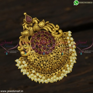 Bridal Accessories For Hair Latest Peacock Jadai Billai Majestic Antique Jewellery Online H22893