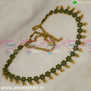 Bridal Fashion Jewellery Collections Floral Hip Chain 43 Inches Kemp Vaddanam Online