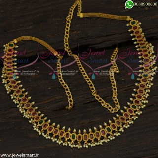 Bridal Fashion Jewellery Collections Rectangle Stone Chain Vaddanam Online H22701