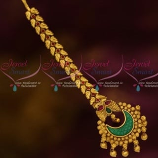 Bridal Maang TikkaFancy Nethichutti Square Stones Antique Gold Plated