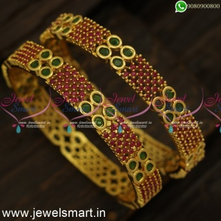Broad 4 Line Ruby Stones Gold Bangles Design Latest Covering JewelleryB24450