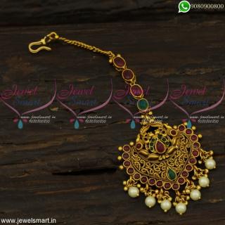 Broad Beautiful Designer Maang Tikka With PearlsAntique Bridal Jewellery