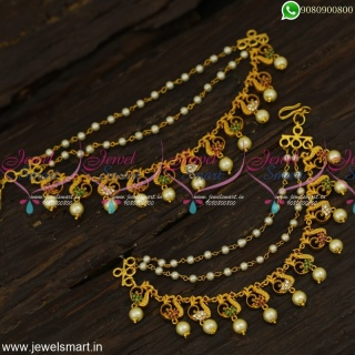 Attractive Calcutta Made Champaswaralu Latest Bahubali Ear Chains Mattal Online EC23991