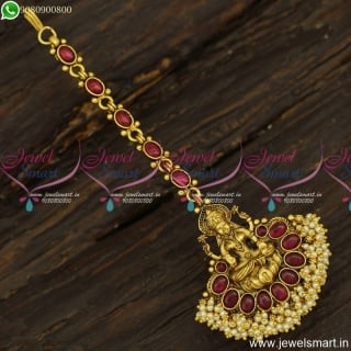 Captivating Temple Jewellery Latest Oval Kemp MangTika Antique Gold Designs Online T23854