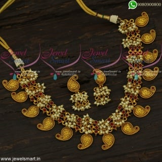 Beautiful Chain Guttapusalu Mango Mala Pearl Jewellery Designs Online NL22241