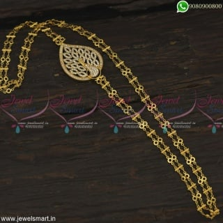 Double Chain Peacock AD Mugappu Latest South Indian Gold Covering Jewelry Online Jewelsmart