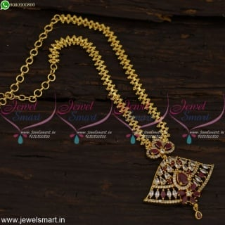 Chain Pendant Set Gold Plated Jewellery American Diamond Stones Online