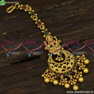Chandbali Style Maang Tikka Temple Nethichuti Antique Jewellery For Wedding T23856