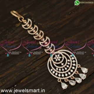 Chandbali Style Rose Gold Silver Papidi Billa for Brides Shining Nethichutti Designs T24148